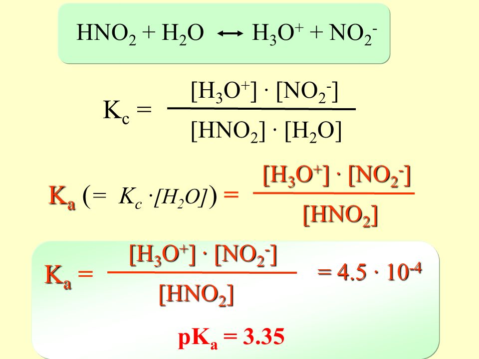Kc = Ka (= Kc ·[H2O]) = Ka = HNO2 + H2O H3O+ + NO2- [H3O+] · [NO2-]